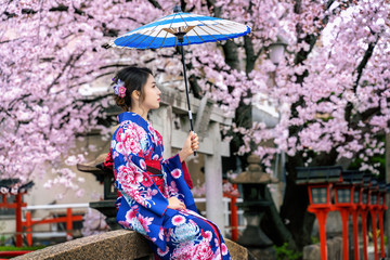 Wall Mural - Asian woman wearing japanese traditional kimono and cherry blossom in spring, Kyoto temple in Japan.