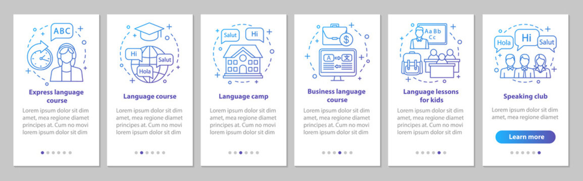 Language learning onboarding mobile app page screen vector template