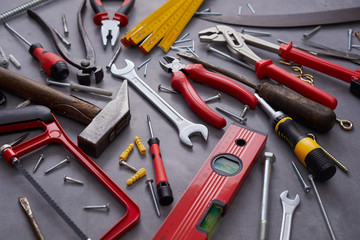 Assorted hand tools for building and construction