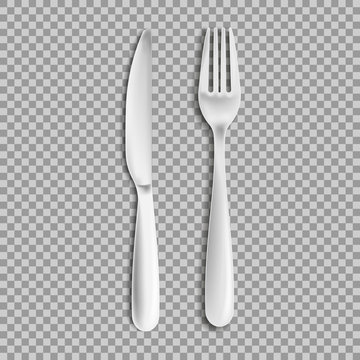 knife fork isolated on white background. Vector illustration.