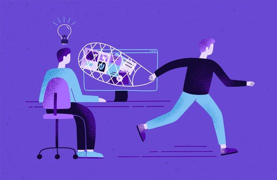 Creator sitting at desk and working and plagiarist or pirate stealing his ideas, content, work results. Concept of plagiarism and infringement of copyright. Flat cartoon colorful vector illustration.