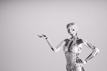 Modern female robot on white background.