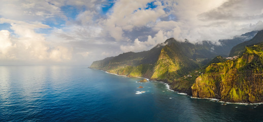 Wall Mural - Beautiful mountain landscape of Seixal, Madeira island, Portugal, at sunset. Aerial panorama view.