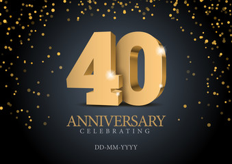Obraz Anniversary 40. gold 3d numbers. Poster template for Celebrating 50th anniversary event party. Vector illustration - fototapety do salonu