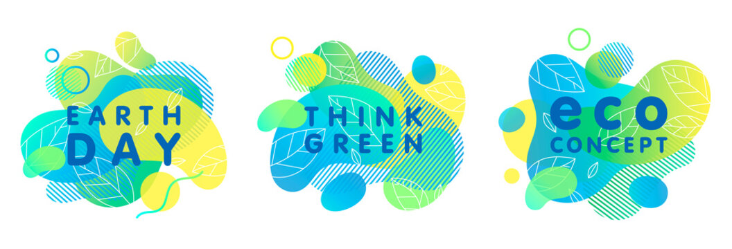 Set of trendy eco concepts with bright liquid shapes,tiny leaves and geometric elements.Fluid compositions perfect for Earth Day,prints,logos,flyers,banners design and more.Think green.Eco concepts.