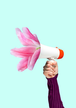A tender reminder. Social talks may grow into useful things. Males hand holding bullhorn with blossoming light pink flower. Negative space to insert your text. Modern design. Contemporary art collage.