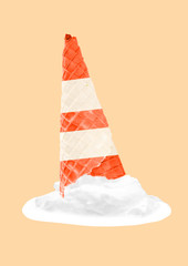 An ice or cold incident. Hot atmosphere. Melting sweet icecream in horn as an emergency cone upside down against yellow background. Negative space. Modern design. Contemporary art collage.