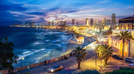 Wall Mural - Panoramic view of Tel Aviv at blue time, Israel