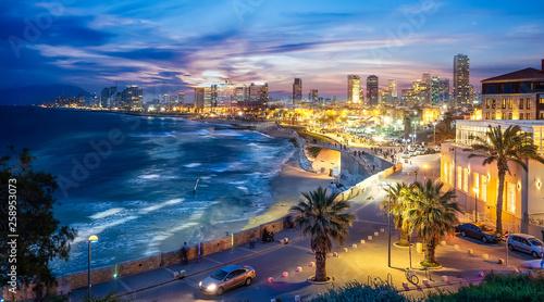 Wall mural Panoramic view of Tel Aviv at blue time, Israel