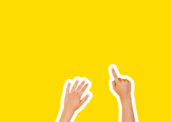 Collage in magazine style and pop art style. Hands pointing a finger on yellow background