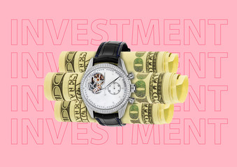Investment in time source is growing up like plants. Money or dollars surrounded by watches against coral background as a bomb. Business and financial concept. Modern design. Contemporary art collage.