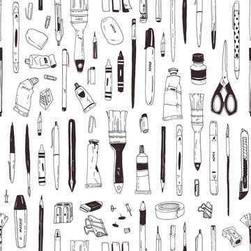 Monochrome seamless pattern with stationery, writing utensils, art supplies hand drawn with black contour lines on white background. Realistic vector illustration for wrapping paper, fabric print.