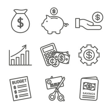 Personal Finance & Responsibility Icon Set with Money, Saving, & Banking options