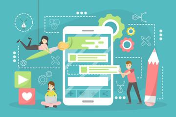 Web design concept. Website development, programming and making responsive