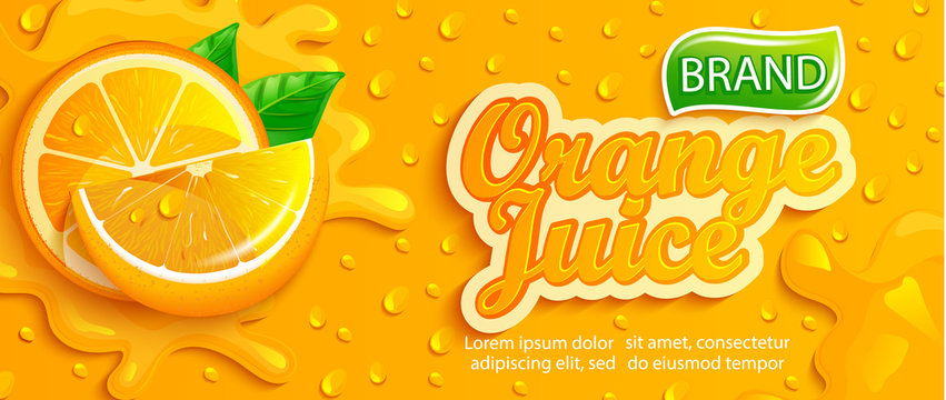 Fresh orange juice splash banner with apteitic drops from condensation, fruit slice on gradient orange background for brand,logo, template,label,emblem,store,packaging,advertising.Vector illustration