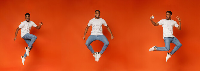 Collage of jumping black guy on orange Wall mural