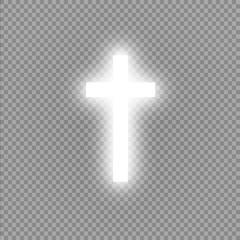 Fototapeta Shining white cross on transparent background. Glowing saint cross. Vector illustration obraz