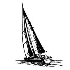sailing yacht stylized vector