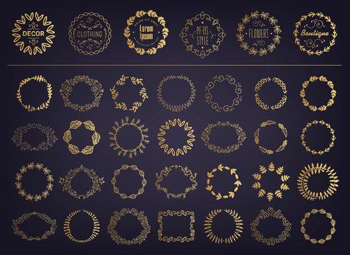 Vector set of golden floral silhouette circular laurel foliate, wheat and oak wreaths depicting an award, achievement, heraldry, nobility