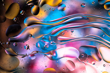 Abstract colorful liquid and bubbles
