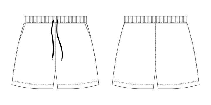 Technical sketch sport shorts pants design template.