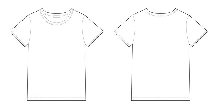 Technical sketch unisex black t-shirt design template.