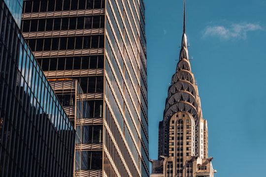 Close-up view of Chrysler Building and One Vanderbilt skyscraper in Midtown Manhattan New York City