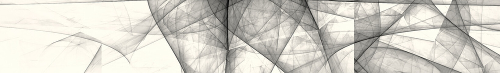 White and black abstract image. Gorizontal panoramic view for kithen panel skinali. 3d render