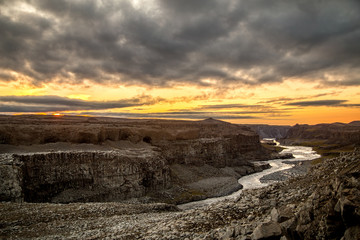 A view of Dettifoss, one of the most powerful waterfalls in Iceland, Europe