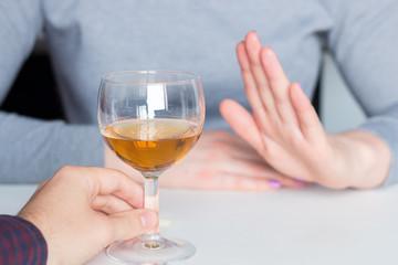 Canvas Prints Bar man offer alcohol but woman refuses