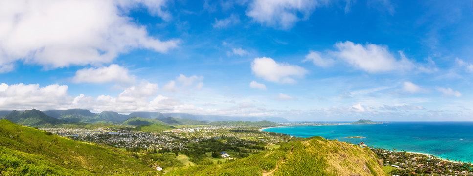 USA, Hawaii, Oahu, Kailua, Panoramic view from Lanikai Pillbox Trail, Kaiwa Ridge Trail