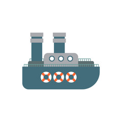 Steamship cartoon style isolated. Ship Vector Illustration