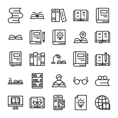 Book & Read Icon Outline
