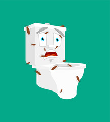 Dirty Toilet bowl and bed bugs. lavatory Cartoon Style Vector illustration