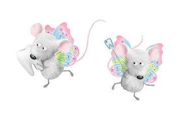 Toth fairy helpers, two gray flying mouses. Deco dental kids elements, card-, flyer- base clip art on white background