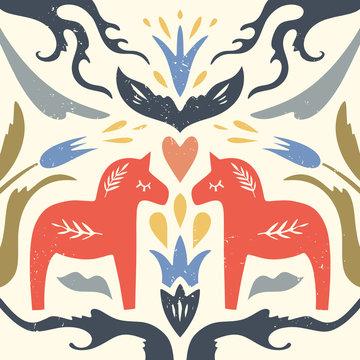 Swedish Dala red horse pattern, scandinavian folk design, floral ornament. Dalecarlian vector