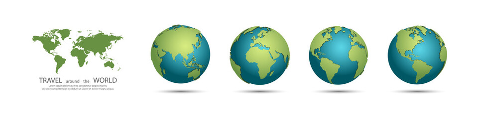 Earth Globes collection. Set of 3d earth globes with shadow. Travel around the world concept Fotomurales
