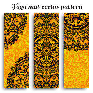 Set of ethnic designs for yoga mats. Vector pattern with mandala.