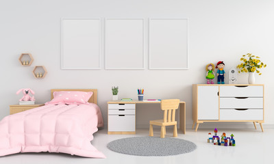 Three blank photo frame for mockup in childern bedroom interior, 3D rendering