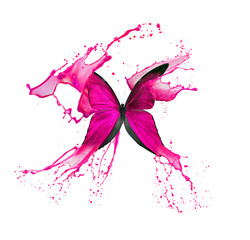 Papiers peints Papillons dans Grunge pink butterfly in paint splash isolated on a white background