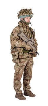 set image of modern british soldier with rifle on white background . army, military and people concept