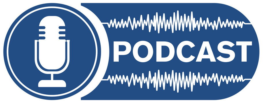 podcast recording symbol with microphone and audio waveform