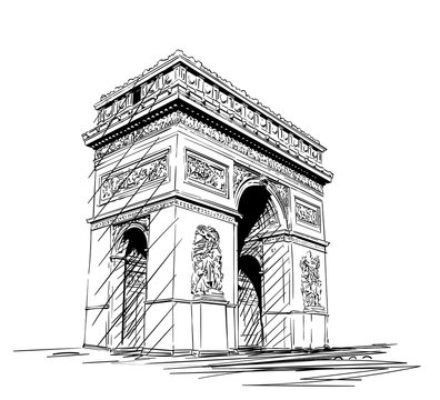 Sketch of Arc de Triomphe in Paris, France, Hand drawn illustration isolated