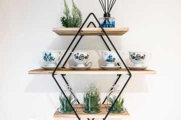 modern wooden shelves with metal frame