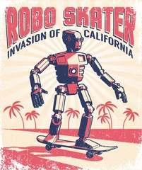 Humanoid robot riding a skateboard - vintage retro poster in a stamp printing style. Vector illustration. Grunge texture on separate layer.