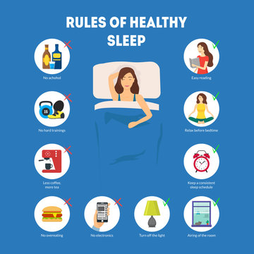 Cartoon Rules of Healthy Sleep Infographics Concept Card Poster. Vector