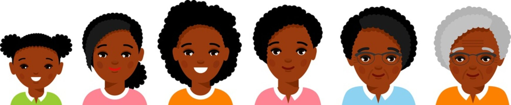 Set of african american age group avatars woman in colorful style. All age group of african american female. Stages of development people - infancy, childhood, youth, maturity, old age.