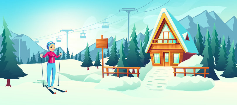 Winter ski resort with cableway or lift cartoon vector concept with happy woman skiing in snowy mountains near small hotel wooden building illustration. Winter vacation active leisure, sport tourism