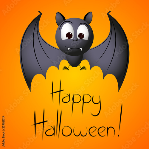 Happy Halloween - card with cartoon a bat