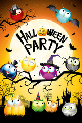 Halloween party poster/ banner - with owls and cemetery